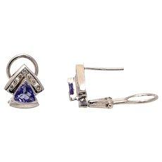2.50 CTW Tanzanite Diamond Earrings