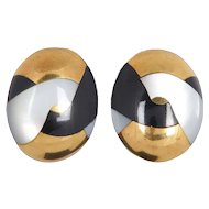 Tiffany & Co. 1980s Mother of pearl and Black Onyx Earrings