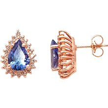 Pear Shape Tanzanite Diamond, Gold Stud Earrings