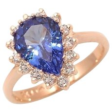 Pear Shape Tanzanite Diamond Gold Engagement Ring