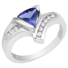 1.07 Carat Trillion Tanzanite White Gold Ring