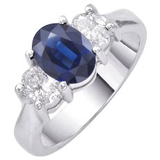English Oval Sapphire Diamond Gold Engagement Ring