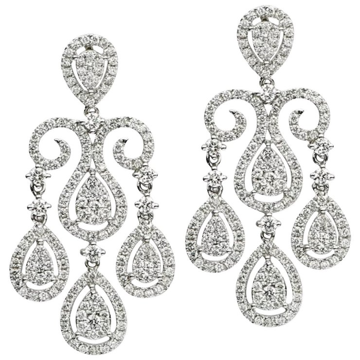 Diamond gold chandelier earrings harbor diamonds rubylux diamond gold chandelier earrings aloadofball Images