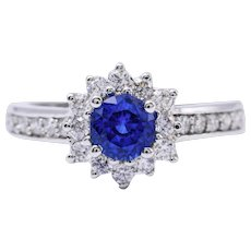 Ceylon Sapphire and Diamonds Ring
