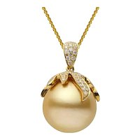 Yellow Gold Diamond and  Golden South Sea  Pendant