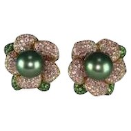 Pink Sapphire Green Garnet Tahitian Pearl Gold Earrings