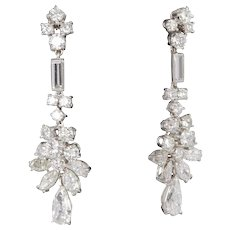 1950's Diamond Platinum Earrings