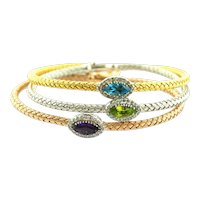 Diamond and Stone Eye Shape Bangle