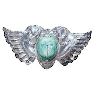 Marshall Field Handwrought Arts and Crafts Sterling Silver Scarab Wings Pin