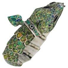 Margot De Taxco Sterling Silver Enamel Snake Bracelet