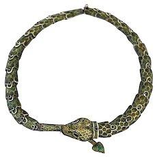 Margot De Taxco Sterling Silver Enamel Snake Necklace