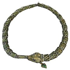 Margot De Taxco Sterling Silver Enamel Snake Necklace