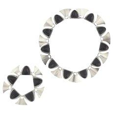 Fred Davis Sterling Silver Necklace and Bracelet Set