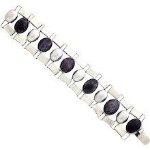 Fred Davis Amethyst Sterling Silver Link Bracelet