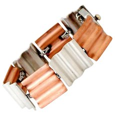 Antonio Pineda Copper .970 Silver Wafer Link Bracelet