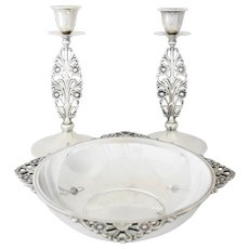 Tiffany Sterling Silver Art Deco 1925 En Suite Candlesticks/Centerpiece Set