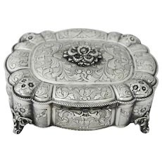 Large Silver Footed Box, Italy, circa 1935
