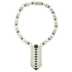 Spratling Azur Malachite Sterling Silver Art Deco Inspired Necklace