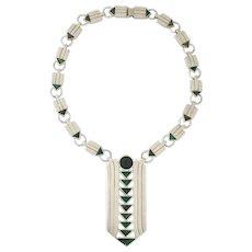 Spratling Azur Malachite Sterling Silver Art Deco Inspired Necklace