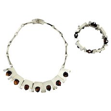 Antonio Pineda Tiger's Eye .970 Silver Necklace and Bracelet