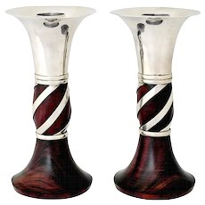 William Spratling Sterling Silver and Rosewood Candlesticks