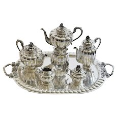 Large Sanborns Sterling Silver Five-Piece Tea and Coffee Service with Tray