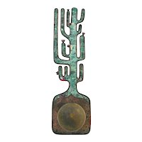 Taxco Brass and Azur Malachite Architectural Cactus Door Plate