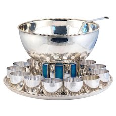 ONC Cartier Punch Set Sterling Silver Enamel Cups