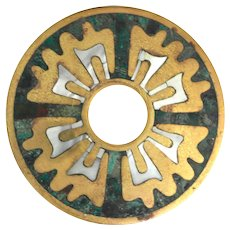 Los Castillo Brass and Mother-of-Pearl Door Plate