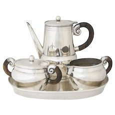 William Spratling Sterling Silver and Rosewood Tea Set with Tray