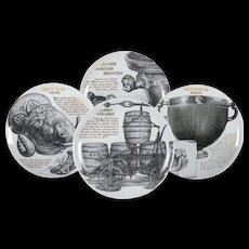 Four Plates by Piero Fornasetti for Martini & Rossi