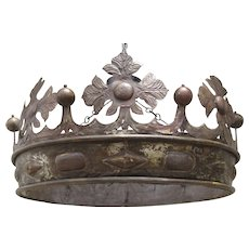 "Italian 19th Century Monumental Bed Crown Canopy ""Corona"" Traces of Silver and Gold Gilt"
