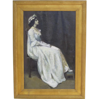 Oil on Canvas of a Young Woman Gilt Frame