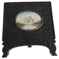 Miniature Painting of Taj Mahal Incase in Carved Frame