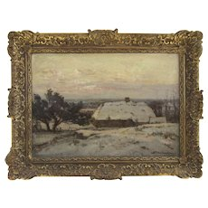 Oil on Canvas Dutch Netherland Snow Winter Farm Scene by David Schulman (1881 - 1966)