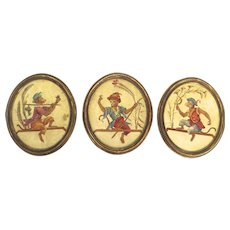 """Early 20th Century Set of Three Oval Paintings """"Singerie"""" Depicting Monkeys Imitating Human"""