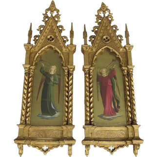 Pair of Large Italian Grand Tour Paintings of Gilded Angels in Architectural Gilt Frames
