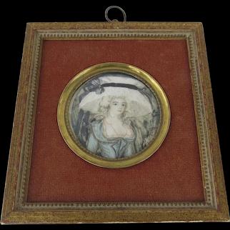19th Miniature Painting Portrait Framed Blue Bonnet