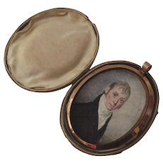 Miniature Portrait by William M. S. Doyle c 1800 Locket Leather Case
