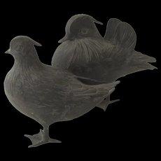 Pair of Vintage Japanese Bronze Bird Figurines