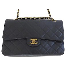 Vintage Classic Chanel Quilted Kid Leather Handbag Purse Dark Navy Double Flap Medium