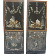 19th Century Pair of French Painted Fresco Panels Architectural Classical Motifs
