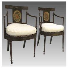 Pair of Hepplewhite Painted Arm Chairs c 1790