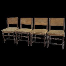 Set of Four 17th Century Italian Walnut Side Chairs
