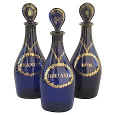 Set of Three Decanters Blue Cobalt Glass Rum, Hollands, Brandy.