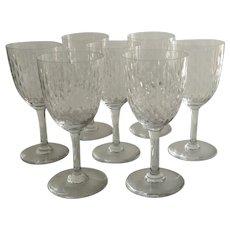 "Vintage Set of Seven (7) Baccarat Wine Glasses Cut Crystal Pattern ""Paris"""
