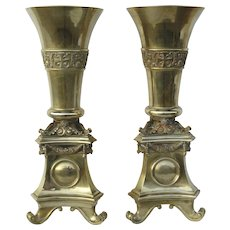 Pair of Monumental Brass Interchangeable Top Vases / Pricketsticks