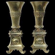 Pair of Monumental Brass Interchangeable Top Vases / Pricketsticks
