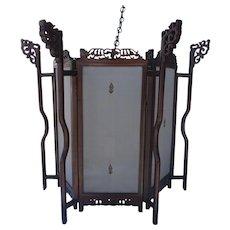 Large Sixagonal shaped Chinese Rosewood Lantern with Silk Panels