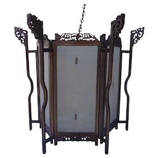 Large Sixagonal shaped Chinese Rosewood Lantern with Silk Panels